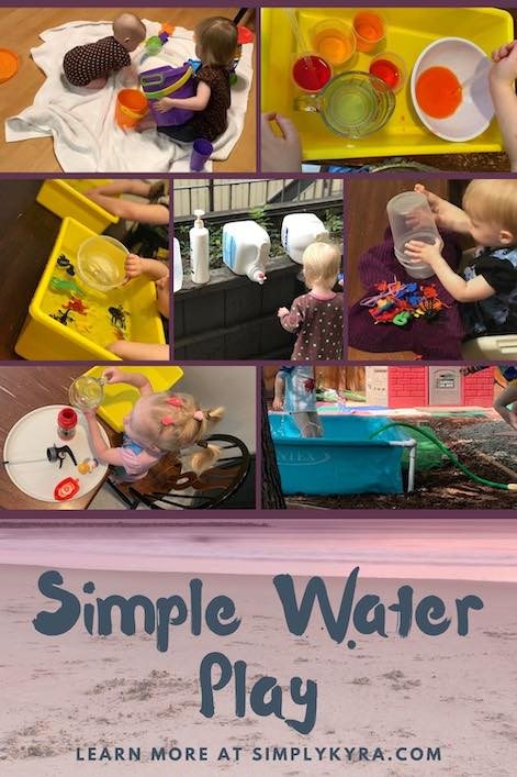 Pinterest image showing several forms of water play, all taken from below. The bottom of the image shows a sandy ocean, free image from Canva, with the title of the blog post and my URL overtop.