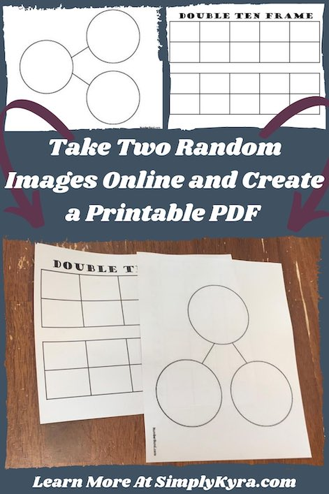 Pinterest Image showing the two images from online (left a number bond with three circles and right a double ten frame), the printed full size images, the blog title, and the url of my website: www.simplykyra.com