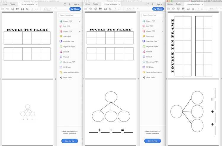 Image shows three PDFs with a double ten frame on the first page and a four circle number bond on the second. The far left shows smaller images, in particular the number bond, while the middle shows full sized up right images, and finally the rightmost image shows full sized sideways images so they'd print in landscape mode.