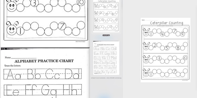 Image shows the finished PDF on the left side and the images used, opened in preview, on the right side.