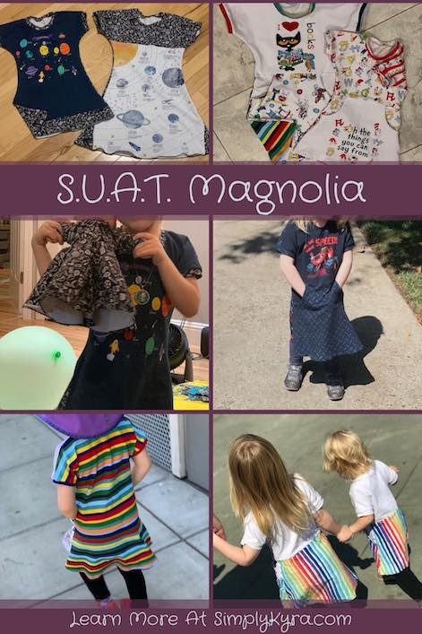 "Pinterest image showing several finished views of the Magnolia top along with some closeups of the sewn together fabric. Most images can be found further down in this post. The image also includes the words ""S.U.A.T. Magnolia"" and the main website URL."