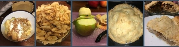 Collage of five images with a blue border around them. From left to right it shows:  1. a plastic bowl two thirds filled with sliced peeled apples topped with flour, sugar, and seasonings.  2. a bottom pie crust filled with a heaping mix of pie filling. 3. Apples on a cutting board being peeled.  4. The top of the baked apple pie with the odd heart outline from a metal cookie cutter.  5. a closeup of a slice of pie on a plate with the rest of the pie in the pie plate behind it.