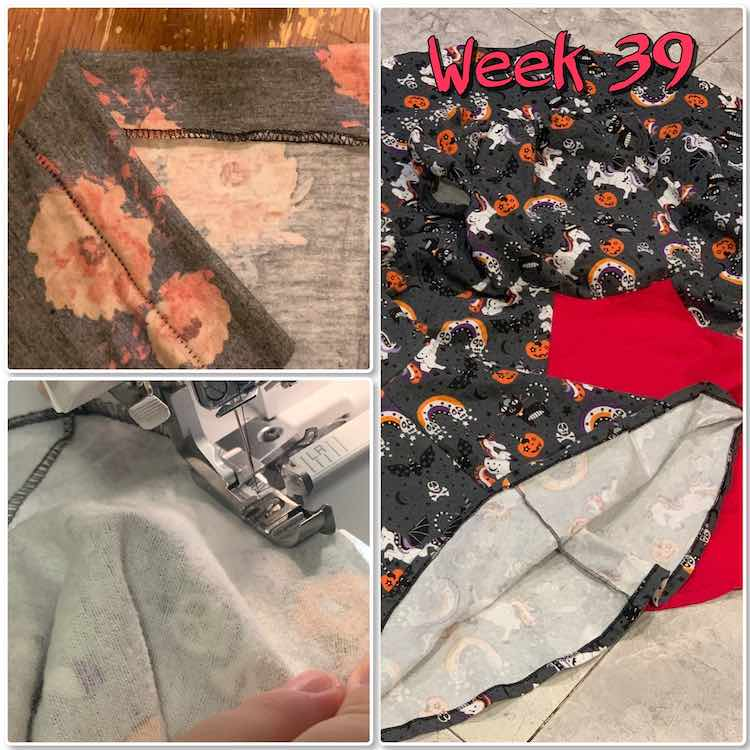 "Image is a collage of three photos along with the text ""week 39"". The left top image shows a scrap of knit fabric with the blind hem sewn on. The edge of the fabric is folded over so you can see either side of it. The small image on the left shows me doing the blind hem along the bottom of one of the dresses. The tall image on the right shows the finished dresses with the hem showing near the bottom."