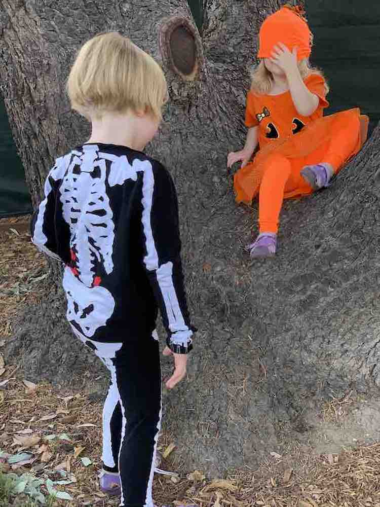 Image shows the back of Ada's skeleton in front of the tree. In front of her Zoey sits on the tree with the hat pulled down over her eyes.