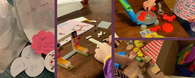 Image shows a collage of four photos. The leftmost one shows the advent calendar bags and hint. The two rightmost ones shows Zoey with her playdough kit while the middle image shows Ada building her LEGO® set.