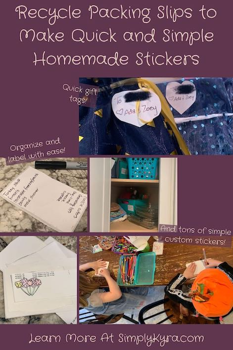 Imaged geared towards pinterest with five images showing different ways you can upcycle the sticker section of a packing slip. All images are shown below. There's also a title at the top, some text showing the ways, and my URL. Overall it shows gift tags, labels to organize, and simple stickers.
