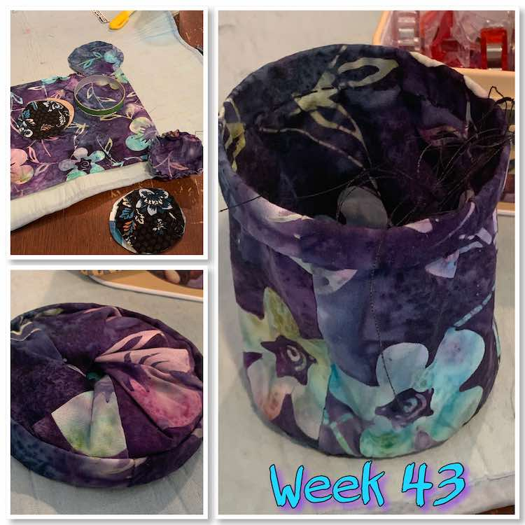 "Image is a collage of three photos showing the pieces used to make the thread catcher, the final closed catcher, and the finished ready for thread view. At the bottom it says ""week 43"" in turquoise with purple shadows."