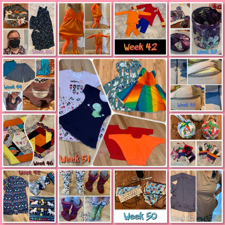 Image is a collage of the last thirteen weeks in the sewing challenge. All images can be found above.