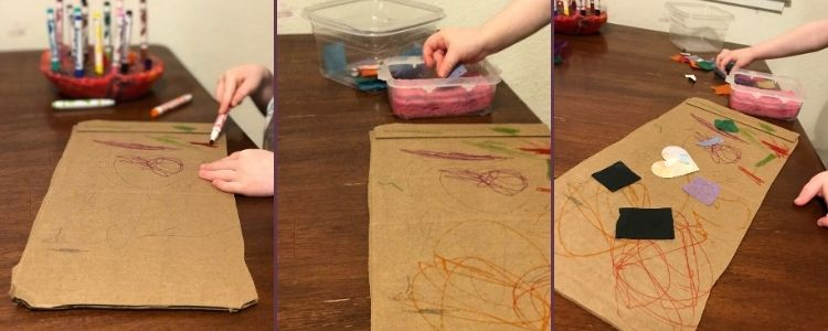 Image is a collage of three photos. The left photo shows her coloring the cardboard while the middle shows her sticking paper in the glue-wet container, and then finally the third image shows the decorated cardboard with glue on paper shapes.