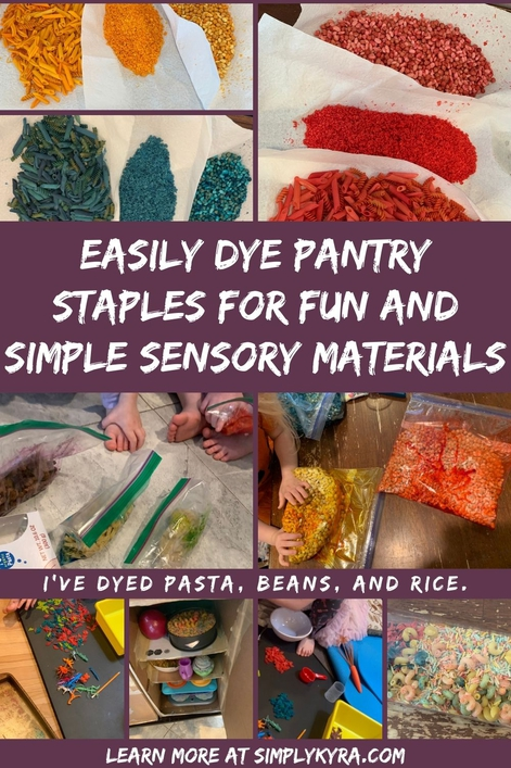 "PInterest geared image showing a collage of nine image all shown below too. The title, the text ""I've dyed pasta, beans, and rice"", and my main URL shows on it."