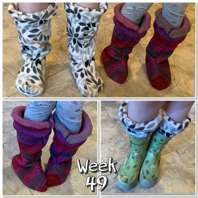 "Image is a collage of three photos showing the boot liners on both girls feet, top, on Zoeys, bottom left, and within a rubber boot for Ada's. Centered at the bottom it says ""week 49""."