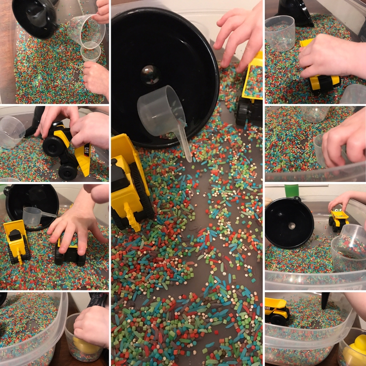 Image shows a collage of seven images all showing colorful small pastas in a clean plastic container with a funnel, scoop, and two construction vehicles.