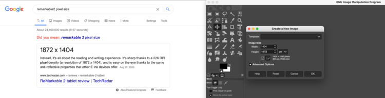 "Image shows two screenshots side by side. The left image shows the google search results for ""remarkable2 pixel size"" along with the top hit from TechRadar. The right image shows an empty Gimp canvas being created with the proper dimensions."
