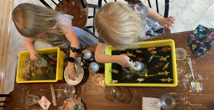 Image shows both kids adding baking soda, via their hands, to their volcano.