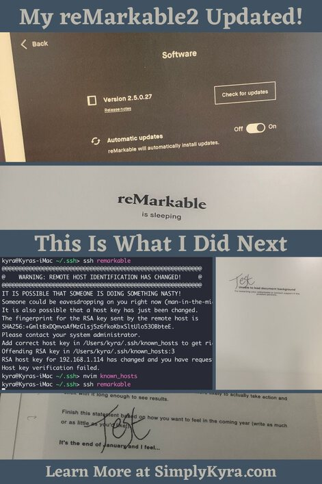"""Pinterest-geared image showing that """"My reMarkable2 Updated / This is what I Did Next"""" and my main URL to learn more. The images show the reMarkable section to check for updates, the default sleep screen, the terminal, and my test page showing no template and a working template."""