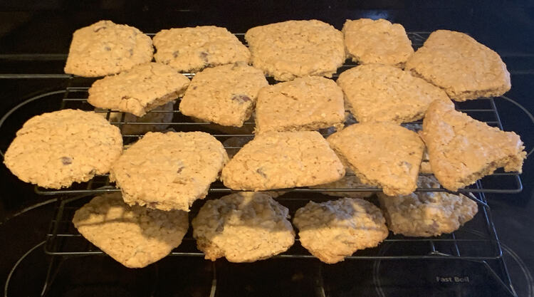Image shows two stacked black wire cooling racks filled with  misshapen oatmeal cookies.