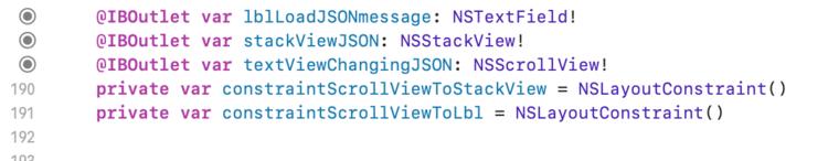 Screenshot of my code showing five lines. The first three are the connected controls for the label, stack view, and scroll view (containing the text view). Below it are the two private constraints.