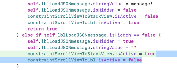 """Image shows almost the same code as the previous picture. In this case, though, the last two lines in the """"else if"""" section are reversed so my application encounter an error when I tried to activate the one as the other already was active and they conflict."""