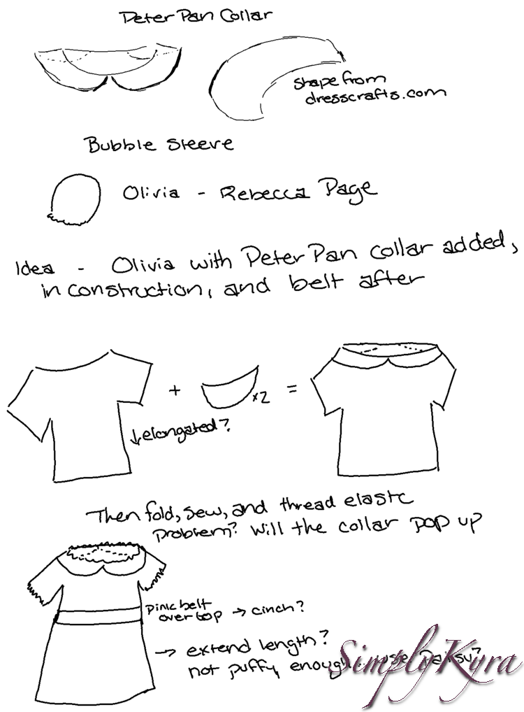 Image shows a white page showing words and sketches on the plan to create an Olivia based Princess Skateboarder outfit.