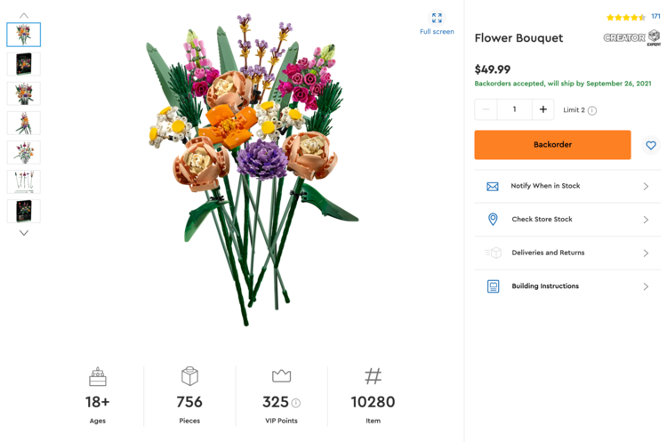 Image shows a screenshot of the flower bouquet page on LEGO.com with the small photos listed on the side, information about the product along the bottom and right side, and a main photo of the bouquet in the center.