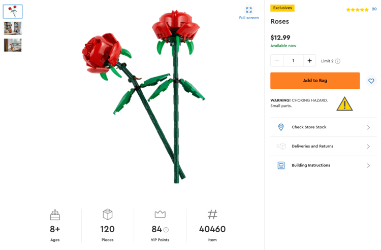 Image shows a screenshot of the rose page on LEGO.com with the small photos listed on the side, information about the product along the bottom and right side, and a main photo of two roses in the center.