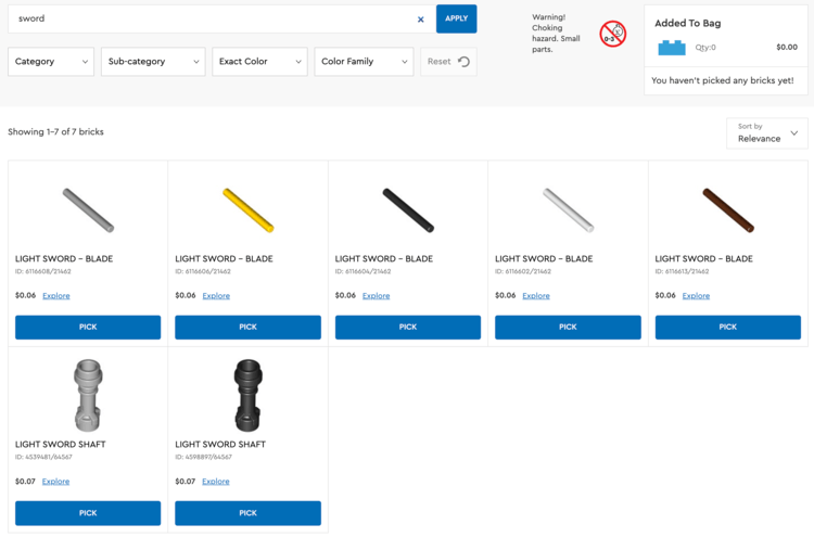 """Image shows the search for """"sword"""" on the Pick a Brick page with seven bricks in the results. The first row of results consists of five squares each showing 6 cent light sword blades. The second row shows two light sword shafts each 7 cents in cost. All items are available as they say """"Pick"""" on the button below."""