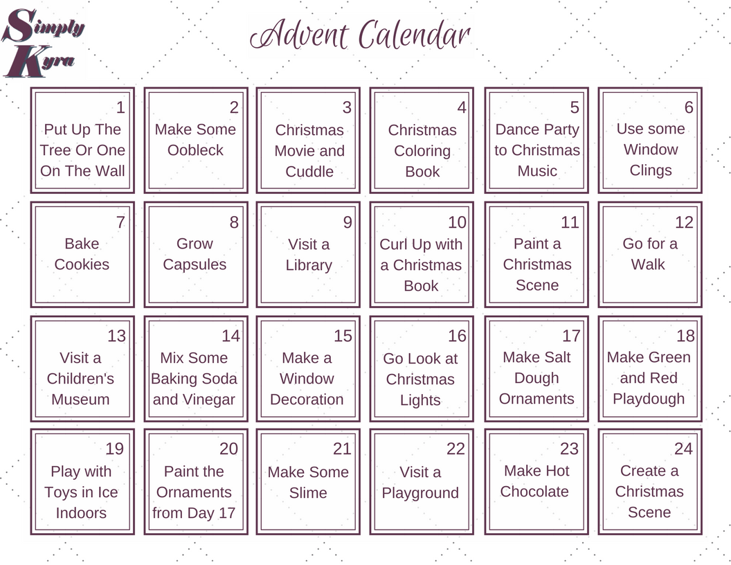 The generalized advent calendar included in the PDF.