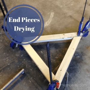 DIY Pikler Triangle - End Pieces Drying