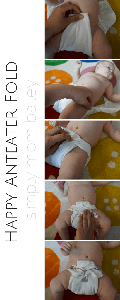 Happy Anteater Fold - Folding Flat Diaper on Baby