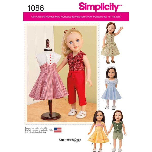 1086 simplicity doll clothing pattern 1086 a envelope