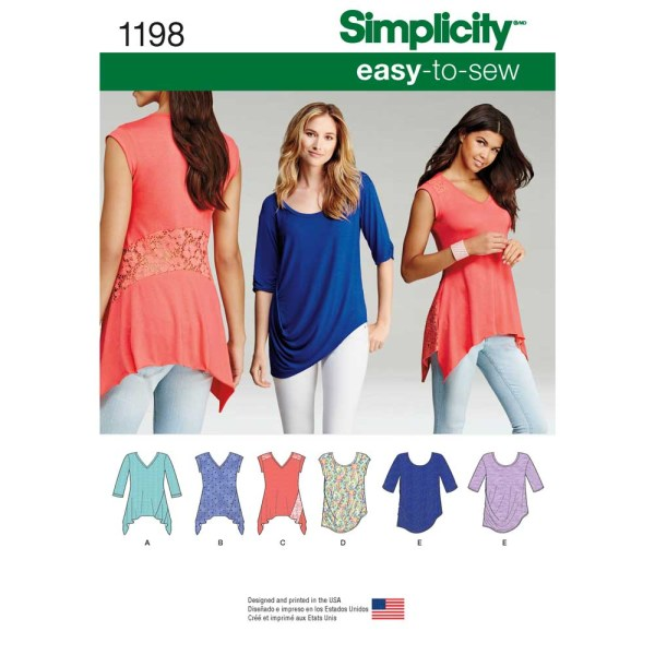 1198 simplicity tops vests pattern 1198 a envelope