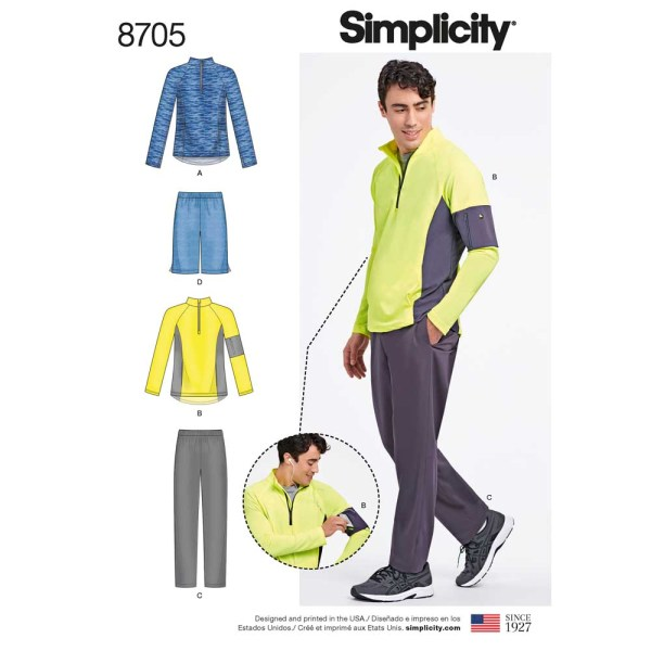 8705 simplicity mens athleisure pattern 8705 a envelope