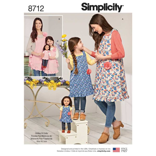 8712 simplicity mother daughter aprons pattern 8712 a envelope