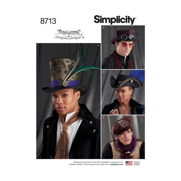 8713 simplicity arkivestry mens steampunk top hats pattern 87110 front