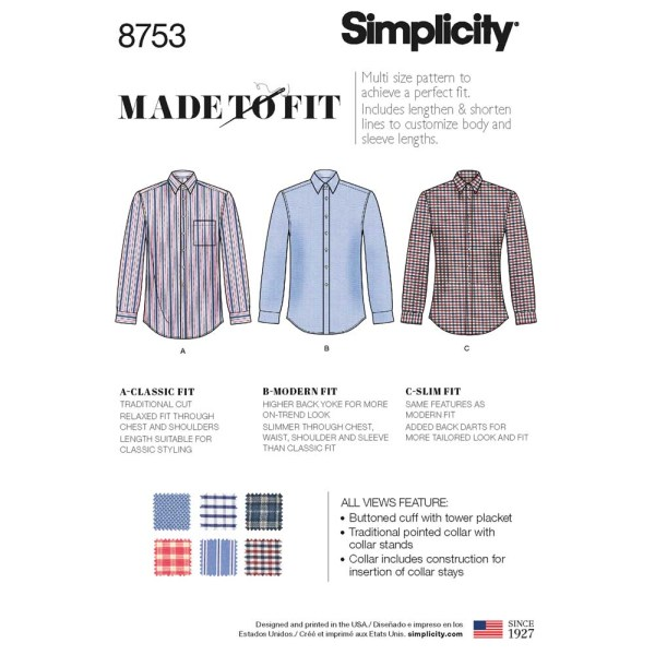 8753 simplicity mens fitted shirt pattern 8753 a envelope