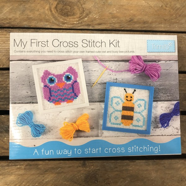 My first cross stitch kit owl and bee 1