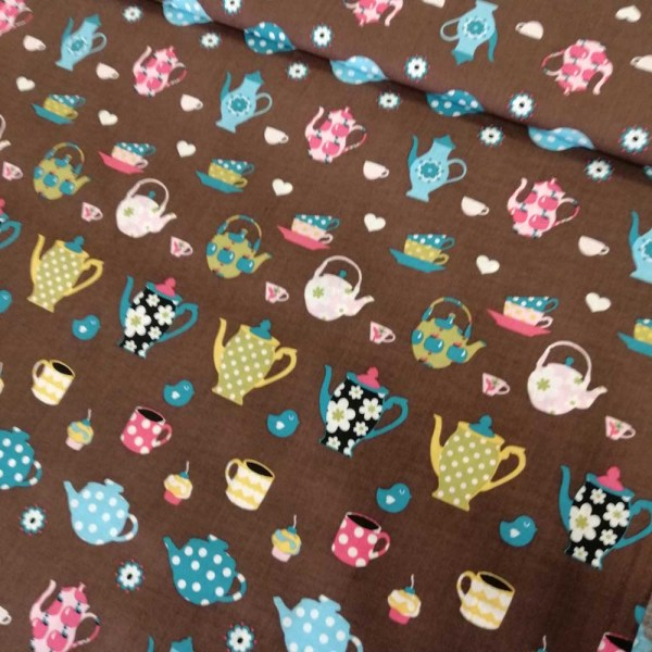 brown tea cup cotton fabric