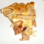 Slice of baked apple pancake