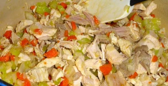Add bite-size pieces of turkey