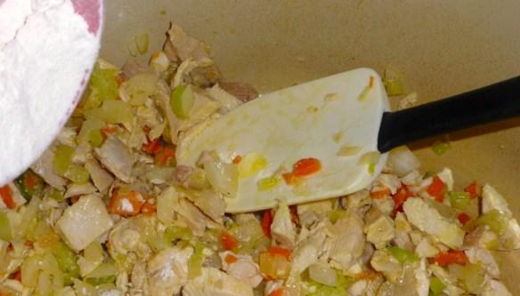 Add flour and stir