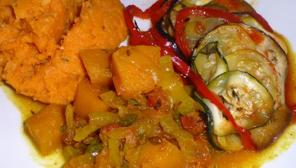 Ratatouille, Indian Spiced Butternut Squash and Sweet Potato Mash