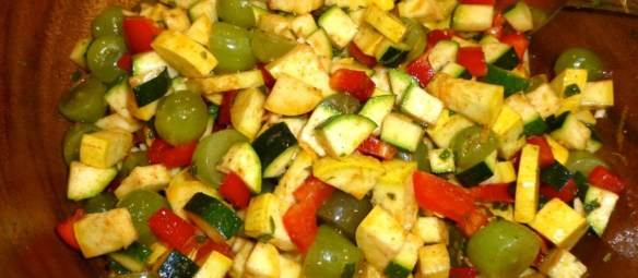 Moroccan Zucchini, Grape, and Bell Pepper Salad