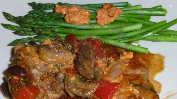 Chicken Puttanesca with Asparagus