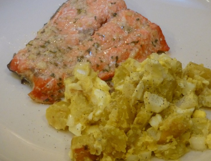 Egg and Potato Salad with Baked Salmon