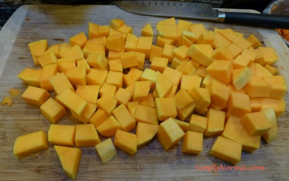 Cut the Squash into bite size pieces