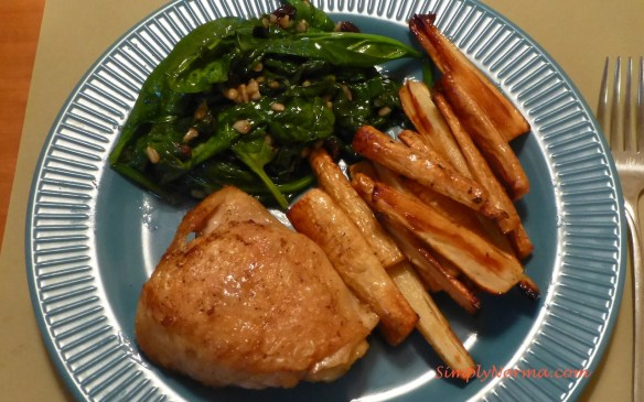 Chicken Thighs with Parsnips and Spinach