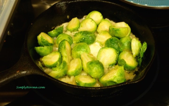 Saute Onions in Butter then add the Brussel Sprouts