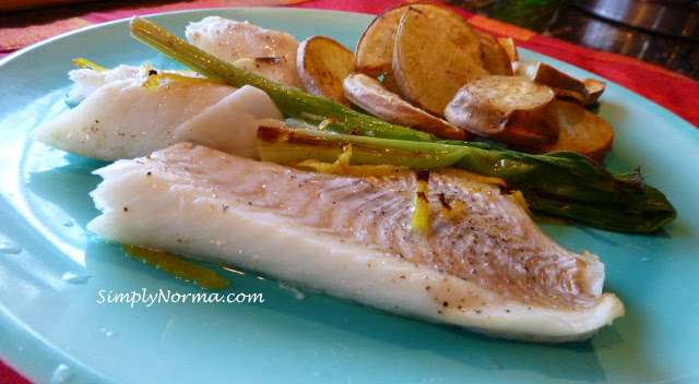 Paleo Roasted Cod and Scallions with Spiced Potatoes