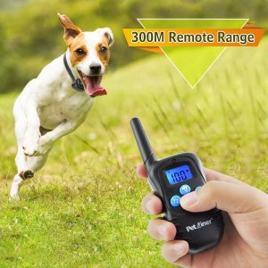 Press the transmitter of the Petrainer PET998DBB dog training remote collar for dog obedience
