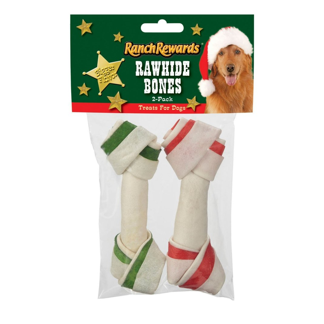 Dogs love these holiday rawhide dog chews